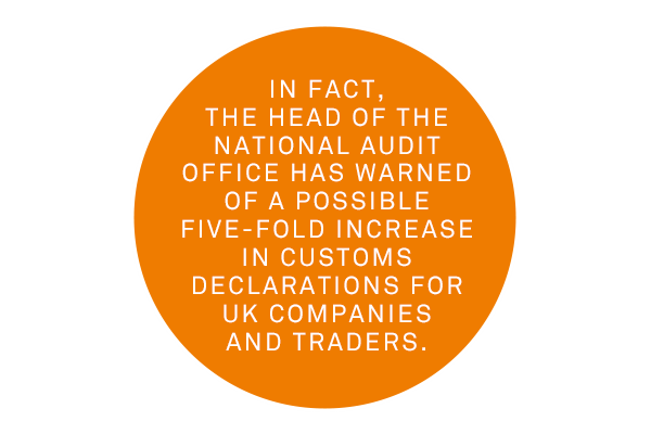 Future customs clearance will be difficult as the National Audit Office predict a five-fold increase in declarations.